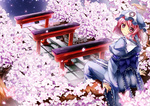 1girl 90i ass back breasts butterfly cherry_blossoms ghost hat hitodama japanese_clothes looking_back obi petals pink_eyes pink_hair ribbon saigyouji_yuyuko sash short_hair sitting smile solo torii touhou tree triangular_headpiece