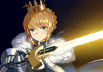 1girl blonde_hair crown excalibur fate/stay_night fate_(series) gauntlets glowing glowing_sword glowing_weapon green_eyes holding holding_sword holding_weapon light_particles mr_cloud saber short_hair solo sword weapon