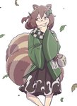 1girl animal_ears bottle brown_eyes brown_hair cowboy_shot futatsuiwa_mamizou glasses hair_ornament hand_on_own_chin highres japanese_clothes jug kawayabug kimono leaf_hair_ornament looking_to_the_side pince-nez raccoon_ears raccoon_tail sake_bottle scarf short_hair simple_background skirt solo tail touhou white_background wide_sleeves wind