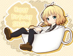 1girl aqua_eyes bangs black_hairband black_legwear black_shirt blazer blonde_hair blunt_bangs blush brown_footwear cake character_name closed_mouth coffee collared_shirt commentary_request cup doily english_text food fork gochuumon_wa_usagi_desu_ka? grey_neckwear hairband happy_birthday holding holding_fork holding_plate in_container in_cup jacket kirima_sharo loafers long_sleeves looking_at_viewer minigirl necktie pantyhose plaid plaid_neckwear plate polka_dot polka_dot_background school_uniform shirt shoes short_hair silhouette smile solo teacup tedeza_rize's_school_uniform wavy_hair wing_collar yellow_background zayaku_(zayakuzazai)