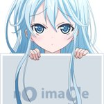 1girl blue_eyes blue_hair denpa_onna_to_seishun_otoko long_hair looking_at_viewer mugen_ouka no_image peeking_out pixiv simple_background solo touwa_erio vector_trace very_long_hair