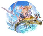 1girl :d alpha_transparency bangs bird blonde_hair blue_flower blue_sky blue_swimsuit blush cagliostro_(granblue_fantasy) cloud collarbone eyebrows_visible_through_hair flower full_body granblue_fantasy hair_flower hair_ornament heart heart-shaped_eyewear lens_flare long_hair looking_at_viewer minaba_hideo ocean official_art one-piece_swimsuit open_mouth ponytail purple_eyes seagull sky smile solo sun sunglasses swimsuit thigh_strap transparent_background water wet white_flower