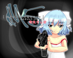 1girl bad_id bad_pixiv_id beretta_93r blue_eyes blue_hair blush dress gun handgun kur@ken mai_(touhou) parasite_eve parody ribbon short_hair simple_background sleeveless sleeveless_dress smile solo touhou touhou_(pc-98) weapon white_dress white_ribbon