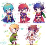 5boys blonde_hair blue_eyes blush bracelet brown_hair cape chibi fire_emblem fire_emblem:_fuuin_no_tsurugi fire_emblem:_monshou_no_nazo fire_emblem:_souen_no_kiseki gloves hat hat_removed headwear_removed highres ike jewelry kid_icarus kid_icarus_uprising link long_hair looking_at_viewer male_focus marth multiple_boys open_mouth pit_(kid_icarus) pointy_ears red_hair repikinoko roy_(fire_emblem) short_hair smile super_smash_bros. the_legend_of_zelda the_legend_of_zelda:_twilight_princess tiara triforce wings