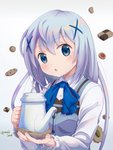 1girl :o artist_name blue_bow blue_eyes blue_vest bow bunny chocolate cookie eyebrows_visible_through_hair food gochuumon_wa_usagi_desu_ka? hair_ornament kafuu_chino light_blue_hair long_hair long_sleeves looking_at_viewer rabbit_house_uniform shirt solo teapot upper_body vest white_shirt x_hair_ornament yusshii
