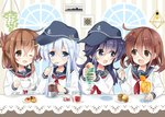 4girls akatsuki_(kantai_collection) anchor_symbol black_hair black_headwear black_sailor_collar brown_hair commentary_request cookie cup drink fang flat_cap food hat hibiki_(kantai_collection) highres hizuki_yayoi ikazuchi_(kantai_collection) inazuma_(kantai_collection) jam jar juice kantai_collection lamp long_hair muffin multiple_girls neckerchief one_eye_closed open_mouth orange_juice plant red_neckwear round_teeth sailor_collar school_uniform serafuku ship ship's_wheel short_hair skin_fang smile spoon striped striped_background table teacup teeth upper_body upper_teeth watercraft window