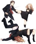 1boy 1girl adachi_tooru age_difference belt black_legwear blazer brown_hair formal german_suplex houndstooth jacket kicking konishi_saki mushisotisis necktie persona persona_4 pleated_skirt school_uniform serafuku skirt socks suit suplex unmoving_pattern vomiting what_if