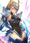 1girl >:) arm_armor armor armpits asymmetrical_bangs bangs bare_shoulders beatrix_(granblue_fantasy) black_legwear black_leotard breasts brown_eyes brown_hair cleavage closed_mouth commentary_request covered_navel covered_nipples cowboy_shot crotch_plate eyebrows_visible_through_hair granblue_fantasy hair_between_eyes halterneck headgear highleg highleg_leotard highres kakage large_breasts leg_armor leotard light_smile long_hair looking_at_viewer mecha_musume mechanical_wings ponytail sideboob skin_tight sleeveless sleeveless_turtleneck solo thighhighs turtleneck v-shaped_eyebrows white_background wings