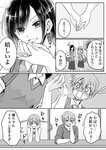 1boy 2girls aho1066aho bangs blush brother_and_sister comic expressive_hair greyscale hair_between_eyes hand_kiss hands_on_own_cheeks hands_on_own_face head_rest highres holding_hands kiss mole mole_under_eye monochrome multiple_girls open_mouth original siblings sweat translated twintails yuri