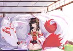 1girl animal_ears azur_lane black_hair closed_eyes commentary_request controller detached_sleeves dress fox fox_ears hair_ornament highres japanese_clothes kneehighs knees_together_feet_apart long_hair multiple_tails nagato_(azur_lane) playstation_controller red_dress sitting sleeping tail white_legwear