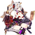 1girl azuchi_(oshiro_project) bare_shoulders black_legwear breasts cleavage covering covering_breasts eyebrows_visible_through_hair full_body fuyuno_yuuki hair_ornament hand_on_own_chest official_art oshiro_project oshiro_project_re platform_boots platform_footwear pleated_skirt purple_eyes seiza short_hair sitting skirt solo transparent_background white_hair white_skirt