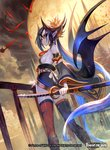 1girl bat black_hair black_sclera blue_hair cloud copyright_name facial_mark force_of_will hair_ornament hair_stick lack long_hair moon multicolored_hair nail_polish night night_sky official_art pale_skin pointy_ears red_eyes reiya_(force_of_will) sky solo sword thighhighs thighs two-tone_hair vampire weapon