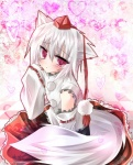 1girl animal_ears bad_id bad_pixiv_id blush checkered checkered_floor detached_sleeves hat heart inubashiri_momiji perspective purple_eyes short_hair silver_hair sitting solo tail tetsu_tissue tokin_hat touhou wolf_ears wolf_tail
