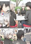 2boys 2girls ahoge artoria_pendragon_(all) black_hair comic commentary faceless faceless_male fate/grand_order fate_(series) father_and_son food fujimaru_ritsuka_(male) ginhaha jeanne_d'arc_(alter)_(fate) jeanne_d'arc_(fate)_(all) mother_and_son multiple_boys multiple_girls saber_alter short_hair sweat yellow_eyes