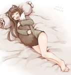 1girl animal_ears barefoot bed_sheet between_legs bottomless brown_hair closed_eyes commentary dated eyebrows_visible_through_hair fang holo hug kazaguruma long_hair long_sleeves lying on_side open_mouth pillow revision signature sleeping solo spice_and_wolf tail tail_between_legs tail_hug twitter_username wolf_ears wolf_tail