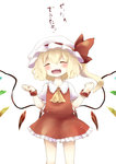 1girl ascot blonde_hair closed_eyes fangs flandre_scarlet hat highres mob_cap nekoha open_mouth side_ponytail smile solo tagme touhou translation_request wings wrist_cuffs