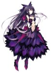 1girl artist_request black_gloves black_hair black_legwear breasts brown_eyes date_a_live dress elbow_gloves garter_straps gloves hair_ornament long_hair looking_at_viewer navel purple_dress see-through solo thighhighs transparent_background tsunako yatogami_tooka