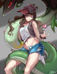 1girl absurdres artist_name black_panties brown_hair buttons commentary dated denim denim_shorts gen_5_pokemon grey_background hair_down hat highres licking_lips long_hair midriff navel open_clothes open_fly open_shorts panties poke_ball pokemon pokemon_(creature) pokemon_(game) pokemon_bw red_eyes serperior shaded_face short_shorts shorts signature simple_background snake stomach tank_top tongue tongue_out touko_(pokemon) unbuttoned underwear vest wavy_hair yedan999