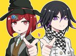 1boy 1girl black_hair black_headwear bob_cut checkered checkered_scarf commentary_request danganronpa dot_nose eyebrows_visible_through_hair hair_between_eyes hair_ornament hairclip hat heart highres jacket looking_at_viewer new_danganronpa_v3 ouma_kokichi piatin pink_heart pointing pointing_at_viewer purple_eyes purple_hair red_eyes red_hair scarf school_uniform shirt simple_background smile straitjacket sweater white_jacket witch_hat yellow_background yumeno_himiko