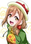 1girl :d blush bow brown_hair commentary_request drawstring floral_print flower green_jacket hair_flower hair_ornament hair_over_shoulder hat hat_bow jacket kunikida_hanamaru long_hair looking_at_viewer love_live! love_live!_sunshine!! love_live!_sunshine!!_the_school_idol_movie_over_the_rainbow low-tied_long_hair open_mouth orange_skirt red_bow red_flower skirt smile solo upper_body white_hat yellow_eyes yopparai_oni