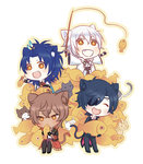 4boys :d ^_^ animal_ears black_gloves black_hair blue_hair brown_hair cat cat_ears cat_tail chibi closed_eyes dark_skin dark_skinned_male eyepatch feathers fish fishing_rod gloves grin hair_feathers japanese_clothes kemonomimi_mode male_focus multiple_boys omi_(0mim0) ookurikara open_mouth shokudaikiri_mitsutada sitting smile taikogane_sadamune tail too_many touken_ranbu tsurumaru_kuninaga white_hair yellow_eyes