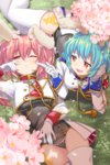 2girls ;< animal_ears armband bangs blue_hair breasts bunny_ears cherry_blossoms chiester410 chiester45 chiester_sisters fang flower gloves grass hair_flower hair_ornament highres kamaboko_red long_hair looking_at_another medium_breasts multiple_girls one_eye_closed pink_hair red_eyes short_hair showgirl_skirt sleepy thighhighs twintails umineko_no_naku_koro_ni