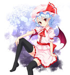 1girl arm_rest ascot bat_wings black_legwear blue_hair frilled_skirt frills gradient gradient_background hat hat_ribbon head_tilt junior27016 knee_up looking_at_viewer mob_cap no_shoes pointy_ears puffy_short_sleeves puffy_sleeves red_eyes remilia_scarlet ribbon sash short_hair short_sleeves sitting skirt skirt_set smile solo thighhighs touhou wings