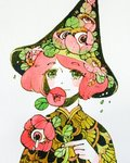 1girl blush eyebrows_visible_through_hair eyes flower flower_on_head green_eyes hat highres holding holding_flower leaf looking_at_viewer maruti_bitamin original pale_skin red_flower red_hair short_hair simple_background smile solo tears upper_body white_background witch_hat