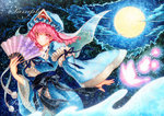 1girl acrylic_paint_(medium) arm_garter bad_id bad_pixiv_id blue_background butterfly cloud fan folding_fan full_moon hat japanese_clothes kimono long_sleeves looking_at_viewer mob_cap moon night obi outdoors parted_lips pink_eyes pink_hair qqqrinkappp saigyouji_yuyuko sample sash short_hair solo texture touhou traditional_media triangular_headpiece