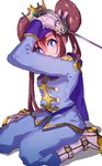 1girl ankea_(a-ramo-do) bangs boots breasts closed_mouth crown double_bun full_body holding holding_sword holding_weapon knight long_hair looking_at_viewer mei_(pokemon) pokemon pokemon_(game) pokemon_bw2 rapier sei seiza simple_background sitting solo sword upper_body weapon white_background