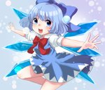 1girl :d blue_background blue_dress blue_eyes blue_hair cirno cowboy_shot dress folded_leg fujiyama_kinfuji hair_ribbon light_particles looking_at_viewer open_hands open_mouth outstretched_arms puffy_short_sleeves puffy_sleeves ribbon short_hair short_sleeves smile solo spread_arms touhou wings