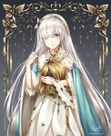 1girl anastasia_(fate/grand_order) artist_name bambi_nano bangs blue_cape blue_eyes cape dress eyes_visible_through_hair fate/grand_order fate_(series) floating_hair fur_trim gradient gradient_background grey_background hair_over_one_eye hand_in_hair highres holding_head long_dress long_hair silver_hair solo standing very_long_hair white_dress yellow_hairband