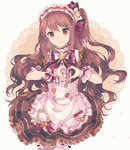 1girl alternate_costume blush brown_eyes brown_hair closed_mouth commentary_request enmaided frills gocoli hair_ornament heart heart_hands highres idolmaster idolmaster_cinderella_girls idolmaster_cinderella_girls_starlight_stage long_hair looking_at_viewer maid one_side_up puffy_sleeves shimamura_uzuki smile solo wrist_cuffs