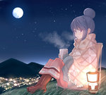 1girl aqua_gloves blue_hair blush boots brown_footwear chair city_lights cup eyebrows_visible_through_hair fingerless_gloves from_side full_body full_moon gloves grass highres hill holding lantern moon mug night outdoors parted_lips pink_eyes shawl shima_rin sitting solo steam yosshii_(ne_ko_matter) yurucamp