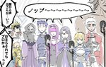 3girls 6+girls ahoge archer armor artoria_pendragon_(all) assassin_(fate/stay_night) bare_shoulders berserker blindfold blonde_hair blue_hair brown_hair caster chacha_(fate/grand_order) chibi cloak collar commentary_request fate/stay_night fate_(series) gauntlets gilgamesh juliet_sleeves karasaki keikenchi_(style) koha-ace lancer long_hair long_sleeves microphone multiple_girls no_nose nose_bubble partially_translated pointy_ears puffy_sleeves purple_hair rider saber short_hair sketch skull_mask sleeping translation_request true_assassin white_hair