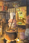 animal calendar_(object) cooking doraemon food hat highres k_kanehira kotatsu lying no_humans original pot table tsuchinoko weightlifting