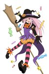 1girl absurdres arche_klein bracelet broom candy food full_body gloves hat highres horizontal-striped_legwear horizontal_stripes jewelry long_hair looking_at_viewer official_art open_mouth pink_eyes pink_hair pointy_shoes puffy_pants shoes solo striped striped_legwear tales_of_(series) tales_of_link tales_of_phantasia witch_hat