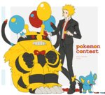1boy blonde_hair blue_eyes bow bowtie character_name denji_(pokemon) electivire formal gen_4_pokemon looking_at_another loose_necktie male_focus necktie pokemon pokemon_(creature) pokemon_(game) pokemon_dppt red_eyes red_neckwear shinx sitting suit yellow_eyes yuuichi_(bobobo)