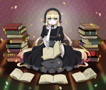 1girl blonde_hair book chittranan dress gosick hair_ribbon hairband lolita_fashion long_hair looking_at_viewer pipe ribbon sitting solo very_long_hair victorica_de_blois