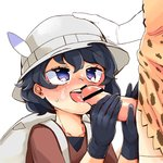 2girls black_eyes black_gloves black_hair bucket_hat commentary_request facial fellatio futa_with_female futanari gloves hand_on_another's_head hat hat_feather highres initsukkii kaban_(kemono_friends) kemono_friends licking multiple_girls oral penis red_shirt serval_(kemono_friends) serval_print shirt short_hair wavy_hair