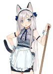 1girl :o animal_ears apron arm_strap bare_shoulders belt black_skirt blue_eyes blue_neckwear breasts buttons cat_ears cat_tail collared_shirt commentary_request cowboy_shot frills grey_shirt hair_ornament hand_on_hip hand_up highres long_hair looking_at_viewer maid maid_apron maid_headdress medium_breasts neck_ribbon open_mouth original pencil_skirt ribbon shirt silver_hair simple_background skirt sleeveless sleeveless_shirt solo standing tail urata_asao very_long_hair white_background wrist_cuffs x_hair_ornament