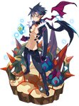 1boy bare_chest belt black_footwear black_hair black_pants cactus choker closed_mouth disgaea faux_figurine flower full_body gloves harada_takehito ice jacket killia_(disgaea) looking_at_viewer makai_senki_disgaea_5 makai_wars male_focus messy_hair navel official_art orange_eyes pants pointy_ears serious shoes solo standing transparent_background wings