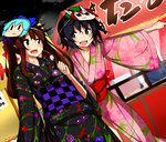 2girls bkub_(style) black_hair bow brown_hair character_mask checkered chen chocolate_banana cirno cowboy_shot dutch_angle fang festival floral_print hair_bow himekaidou_hatate japanese_clothes kimono long_hair looking_at_another mask_on_head mid_win_h multiple_girls night night_sky obi open_mouth parody pointing purple_eyes sash shameimaru_aya short_hair side-by-side sky style_parody touhou twintails