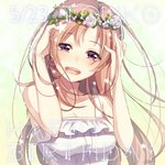 1girl :d bare_arms bare_shoulders breasts brown_hair character_request commentary_request copyright_request floating_hair flower hands_up happy_birthday head_wreath highres ichiren_namiro large_breasts long_hair open_mouth purple_eyes rose smile solo upper_body white_flower white_rose