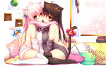 2girls ahoge animal_ears asymmetrical_docking bell black_legwear blush bow breast_press breasts brown_hair cat_ears cat_tail cheek-to-cheek dress highres indoors jingle_bell large_breasts long_hair looking_at_viewer meme_attire mia_flatpaddy multiple_girls original pillow pink_hair red_eyes ribbon scarf shared_scarf shia_flatpaddy sideboob sitting sweater sweater_dress syroh tail tail_bell tail_bow tail_ribbon thighhighs virgin_killer_sweater wariza white_legwear zettai_ryouiki