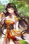 1girl bangs belt black_hair blush braid breasts check_commentary cleavage commentary_request cowboy_shot dated day dress dungeon_and_fighter earrings english_commentary grey_eyes hair_lift hair_ornament hand_in_hair highres ika_(4801055) japanese_clothes jewelry lips long_hair long_sleeves looking_at_viewer medium_breasts miko outdoors red_lips signature smile solo standing tree
