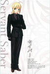 1girl ahoge artoria_pendragon_(all) blonde_hair fate/zero fate_(series) formal green_eyes official_art pant_suit saber solo suit