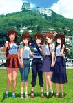 5girls :d ;) alternate_costume backpack bag blew_andwhite blue_skirt brown_eyes brown_hair building casual clothes_around_waist comiket_94 commentary_request denim fubuki_(kantai_collection) full_body green_eyes grin hatsuyuki_(kantai_collection) highres holding_hands i-401_(kantai_collection) jacket jacket_around_waist jeans kantai_collection long_hair long_skirt looking_at_viewer looking_to_the_side low_ponytail low_twintails miyuki_(kantai_collection) mountain multiple_girls odd_one_out one_eye_closed open_mouth orange_jacket pagoda pants photo_background ponytail raglan_sleeves scenery shirayuki_(kantai_collection) shirt shoes short_hair short_ponytail skirt smile sneakers twintails v v-shaped_eyebrows white_shirt