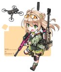 1girl blush brown_hair dog_tags double_bun drone eyebrows_visible_through_hair eyewear_on_head fatkewell girls_frontline green_eyes gun hair_between_eyes highres holding holding_gun holding_weapon knee_pads long_hair open_mouth rfb_(girls_frontline) rifle simple_background solo thigh_strap tom_clancy's_the_division_2 weapon