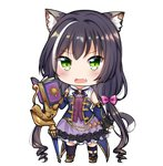 1girl animal_ear_fluff animal_ears bangs black_hair black_legwear blue_sleeves blush book boots bow brown_footwear cat_ears cat_girl cat_tail commentary_request detached_sleeves eyebrows_visible_through_hair fang frilled_skirt frills green_eyes hair_bow kyaru_(princess_connect) long_hair long_sleeves looking_at_viewer low_twintails lydia601304 multicolored_hair open_book open_mouth pink_bow princess_connect! princess_connect!_re:dive purple_skirt shirt skirt sleeveless sleeveless_shirt solo streaked_hair tail thighhighs transparent_background twintails very_long_hair white_hair white_shirt